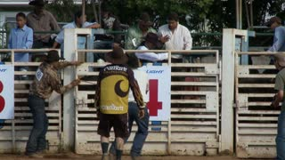 Slow Motion Bull Riding At Rodeo