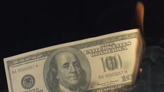 Slow Motion Burning 100 Dollar Bill