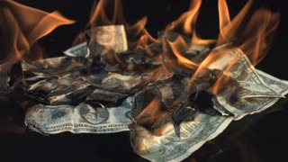 Slow Motion Burning Dollar Bills