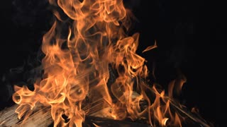 Slow Motion Burning Firewood