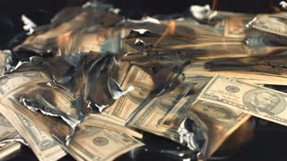 Slow Motion Burning Pile of Money