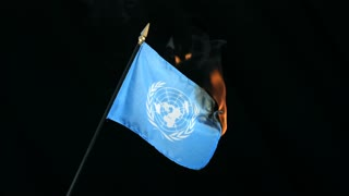 Slow Motion Burning United Nations Flag