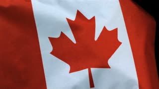 Slow Motion Canadian Flag in the Wind