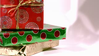 Slow Motion Cash Falling on Christmas Gifts 1
