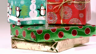 Slow Motion Cash Falling on Christmas Gifts 3
