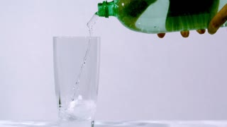 Slow Motion Clear Soda From Bottle 2