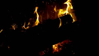 Slow Motion Embers in Fireplace