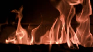 Slow Motion Fireplace Flames Rising