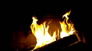 Slow Motion Fireplace Logs Burning