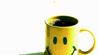 Slow Motion Happy Mug Coffee Creamer Pour
