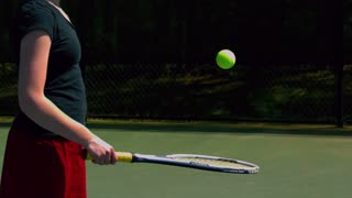 Slow Motion Juggling Tennis Ball on Racket