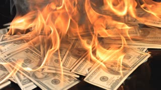 Slow Motion Money on Fire