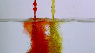 Slow Motion Red and Yellow Water Streams 2