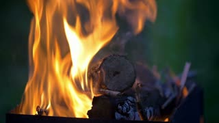 Slow motion shot of a wood on fire in the fireplace.