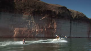 Slow-motion Speedboat Pulls Wake Boarder Lake Powell Utah