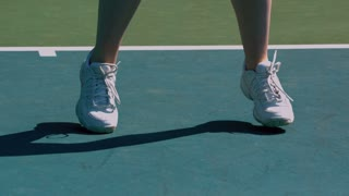 Slow Motion Tennis Feet Ready for Action
