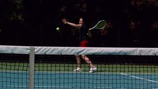 Slow Motion Tennis Volley Into Net 2