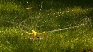 Slow Motion Three Way Sprinkler Spinning