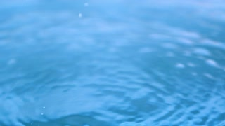 Slow Motion Water Drips On Pool