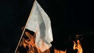 Slow Motion White Flag on Fire