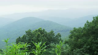 Slow Pan, Left To Right, Of A Forested Mountain Ridge Line, Blue Ridge Mountains