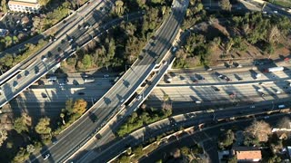 Slow Passing By Freeway Overpass Aerial