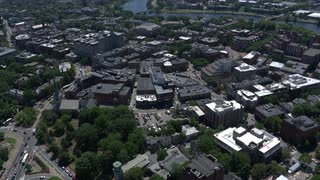 Slow Rotating Aerial Shot Over Harvard University, Boston, Massachusetts