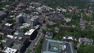 Slow Rotating Aerial Shot Over Harvard University, Reverse Side, Boston, Massachusetts