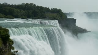 Slow Rushing Niagara Falls Over Cliff