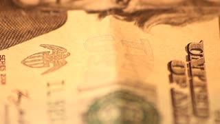 Slowly Rotating Twenty Dollar Bill Super Close Up
