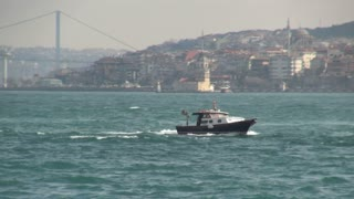 Small Boat Battling Choppy Bosphorus Waves
