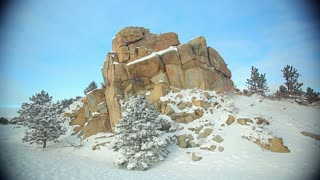 Small Rock Formation Winter Landscape