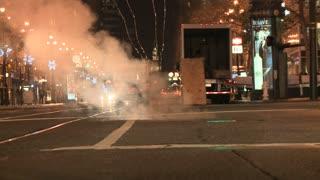 Smokey Manhole In San Francisco Street