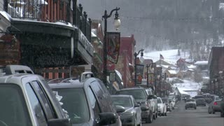 Snow Falling On Main Street In Park City Utah