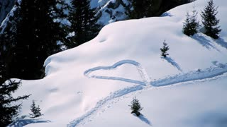 snow hearts. love symbol. romantic romance. snow winter season