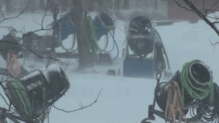 Snow making equipment in blizzard