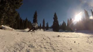 Snow Thrown By Skier