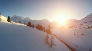 snow winter landscape. aerial view. sunset dusk. nature landscape