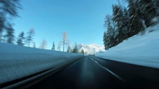 snow winter road. driving car. motion moving. rush speed