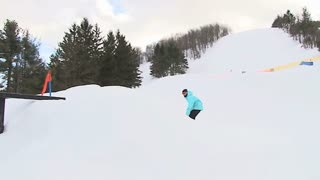 Snowboarder on rails 2