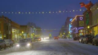 Snowing on Telluride Street