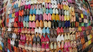 Soft leather Moroccan slippers in the Souk, Medina, Marrakesh, Morocco, North Africa