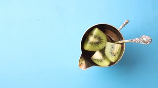 Some fresh Kiwi Fruits. Food background. Top view Copy space.