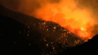 Southern California Fires at Night Close Up