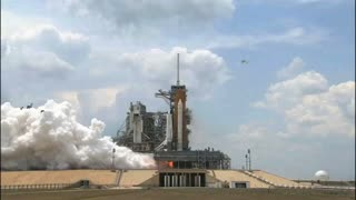 Space Shuttle Lift Off From Launch Platform