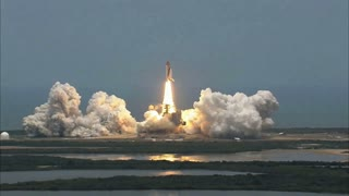 Space Shuttle Lift Off Into Atmosphere