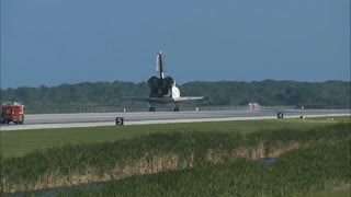Space Shuttle Sitting On Runway