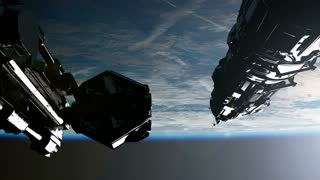 Space Station Orbiting Earth. Elements of this image furnished by NASA.
