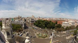 Spain. Madrid. Plaza Cibeles. View from the top of Palacio Comunicaciones. Timelapse