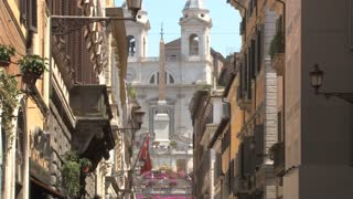 Spanish Steps Between Rome Buildings